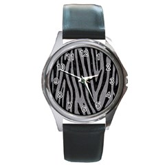Skin4 Black Marble & Gray Colored Pencil Round Metal Watch