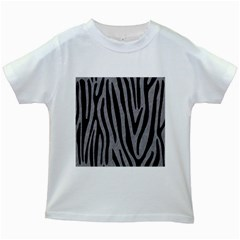 Skin4 Black Marble & Gray Colored Pencil Kids White T Shirts