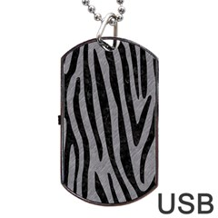 Skin4 Black Marble & Gray Colored Pencil Dog Tag Usb Flash (one Side)