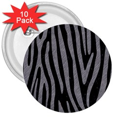 Skin4 Black Marble & Gray Colored Pencil (r) 3  Buttons (10 Pack)