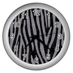 Skin4 Black Marble & Gray Colored Pencil (r) Wall Clocks (silver)