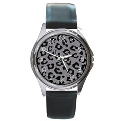 Skin5 Black Marble & Gray Colored Pencil Round Metal Watch