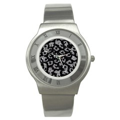 Skin5 Black Marble & Gray Colored Pencil (r) Stainless Steel Watch