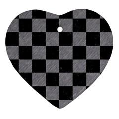 Square1 Black Marble & Gray Colored Pencil Ornament (heart)