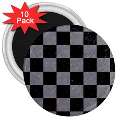 Square1 Black Marble & Gray Colored Pencil 3  Magnets (10 Pack)