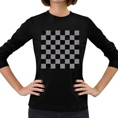 Square1 Black Marble & Gray Colored Pencil Women s Long Sleeve Dark T Shirts