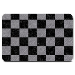 Square1 Black Marble & Gray Colored Pencil Large Doormat