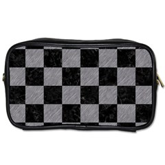 Square1 Black Marble & Gray Colored Pencil Toiletries Bags 2 Side