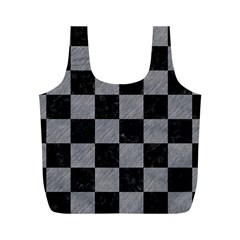 Square1 Black Marble & Gray Colored Pencil Full Print Recycle Bags (m)