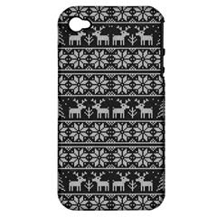 Xmas Pattern Apple Iphone 4/4s Hardshell Case (pc+silicone)