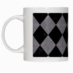 Square2 Black Marble & Gray Colored Pencil White Mugs