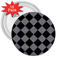 Square2 Black Marble & Gray Colored Pencil 3  Buttons (10 Pack)