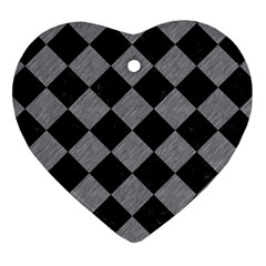 Square2 Black Marble & Gray Colored Pencil Heart Ornament (two Sides)