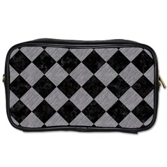 Square2 Black Marble & Gray Colored Pencil Toiletries Bags 2 Side