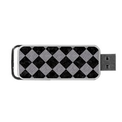Square2 Black Marble & Gray Colored Pencil Portable Usb Flash (two Sides)