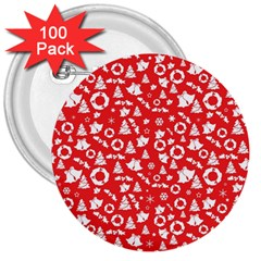 Xmas Pattern 3  Buttons (100 Pack)