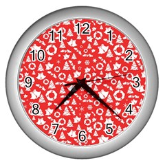 Xmas Pattern Wall Clocks (silver)