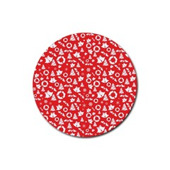 Xmas Pattern Rubber Round Coaster (4 Pack)
