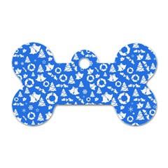 Xmas Pattern Dog Tag Bone (one Side)