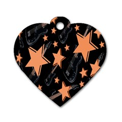 Guitar Star Rain Dog Tag Heart (one Side)