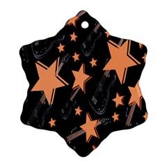 Guitar Star Rain Snowflake Ornament (two Sides)