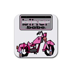 Biker Babe Rubber Coaster (square)