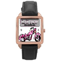 Biker Babe Rose Gold Leather Watch
