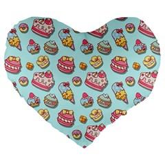 Sweet Pattern Large 19  Premium Heart Shape Cushions