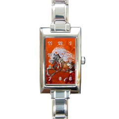 Steampunk, Wonderful Wild Steampunk Horse Rectangle Italian Charm Watch