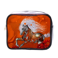 Steampunk, Wonderful Wild Steampunk Horse Mini Toiletries Bags