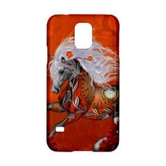 Steampunk, Wonderful Wild Steampunk Horse Samsung Galaxy S5 Hardshell Case