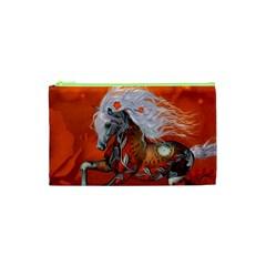 Steampunk, Wonderful Wild Steampunk Horse Cosmetic Bag (xs)