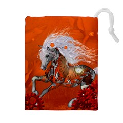 Steampunk, Wonderful Wild Steampunk Horse Drawstring Pouches (extra Large)