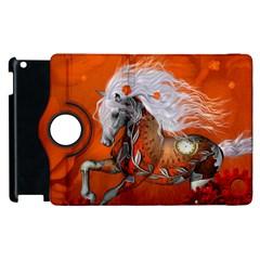 Steampunk, Wonderful Wild Steampunk Horse Apple Ipad 3/4 Flip 360 Case