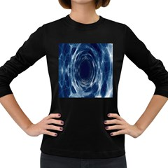 Worm Hole Line Space Blue Women s Long Sleeve Dark T Shirts