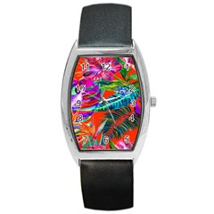 Aloha Hawaiian Flower Floral Sexy Summer Orange Barrel Style Metal Watch