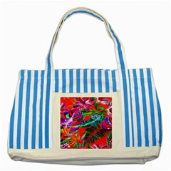 Aloha Hawaiian Flower Floral Sexy Summer Orange Striped Blue Tote Bag
