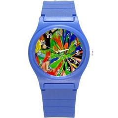 Acrobat Wormhole Transmitter Monument Socialist Reality Rainbow Round Plastic Sport Watch (s)