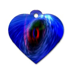 Black Hole Blue Space Galaxy Dog Tag Heart (one Side)