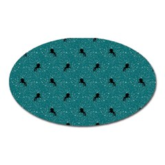 Unicorn Pattern Aqua Oval Magnet