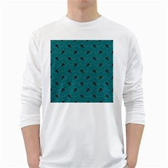 Unicorn Pattern Aqua White Long Sleeve T Shirts