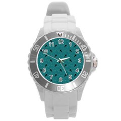 Unicorn Pattern Aqua Round Plastic Sport Watch (l)