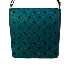 Unicorn Pattern Aqua Flap Messenger Bag (l)