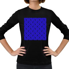 Unicorn Pattern Blue Women s Long Sleeve Dark T Shirts