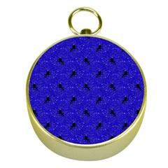 Unicorn Pattern Blue Gold Compasses