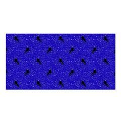 Unicorn Pattern Blue Satin Shawl