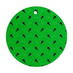 Unicorn Pattern Green Round Ornament (two Sides)