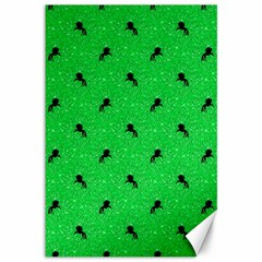 Unicorn Pattern Green Canvas 12  X 18