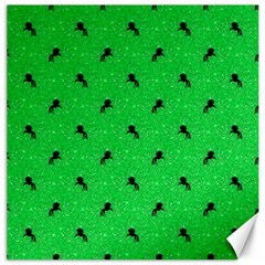 Unicorn Pattern Green Canvas 16  X 16