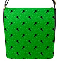 Unicorn Pattern Green Flap Messenger Bag (s)